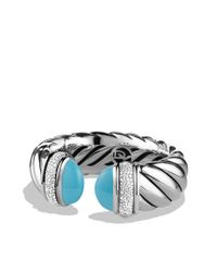 David Yurman | Blue Waverly Bracelet with Turquoise and Diamonds | Lyst