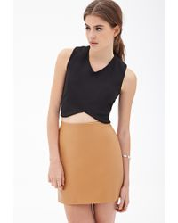 Forever 21 - Brown Faux Leather Mini Skirt - Lyst