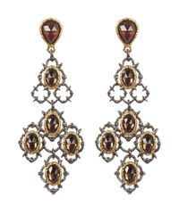 Alexis Bittar | Metallic Crystal Studded Gold-Plated Lace Chandelier Earring | Lyst