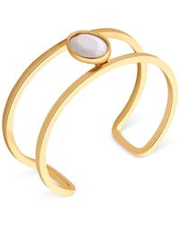 T Tahari | Metallic Gold-tone White Stone Open Cuff Bracelet | Lyst