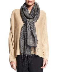 Eskandar - Gray Two-tone Striped Scarf W/fringe - Lyst