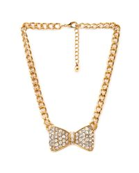 Forever 21 - Metallic Shimmer & Shine Bow Necklace - Lyst