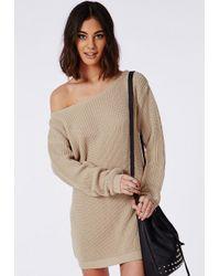 Missguided - Natural Off Shoulder Knitted Jumper Dress Camel - Lyst