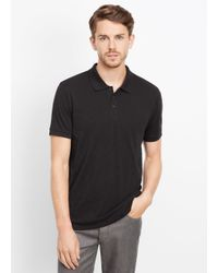 Vince | Black Slub Cotton Short Sleeve Polo for Men | Lyst