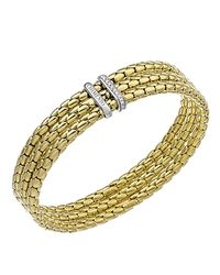 Chimento | Metallic 18k Yellow & White Gold Stretch Spring Collection 3 Tier Disc Rope Bracelet With Diamonds | Lyst