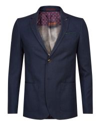 Ted Baker | Blue Tyller Herringbone Suit Jacket for Men | Lyst