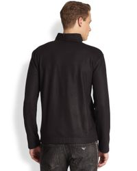 Emporio Armani | Blue Wool Cashmere Split Neck Sweater for Men | Lyst