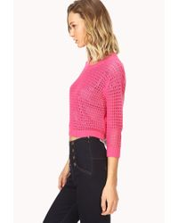 Forever 21 | Pink Standout Open-knit Sweater | Lyst