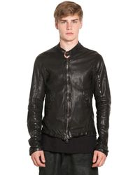 Giorgio Brato | Black Vegetable Dyed and Washed Leather Jacket for Men | Lyst