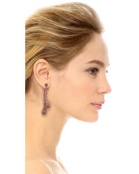 Oscar de la Renta - Purple Crystal Pave Drop Earrings - Lyst