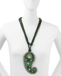 Lanvin | Green Long Crystal Paisley Pendant Ribbon Necklace | Lyst