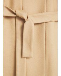 Mango - Brown Belt Wool Coat - Lyst