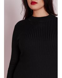 Missguided | Plus Size Maxi Knitted Rib Dress Black | Lyst