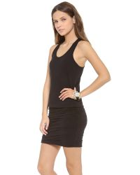 Sundry | Black Ruched Tank Dress | Lyst