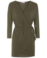TOPSHOP | Natural Batwing Wrap Dress By Wal G | Lyst