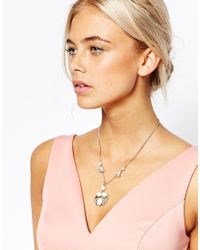 Oasis | Metallic Delicate Faux Pearl & Cupchain Pendant Necklace | Lyst