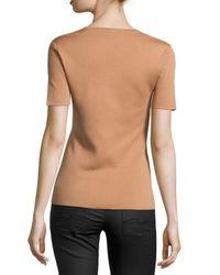 Michael Kors - Natural Cashmere Short-sleeve Sweater Top - Lyst