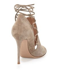 Gianvito Rossi - Natural Lace-Up Suede Ankle Boots - Lyst