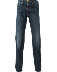 Emporio Armani - Blue Paint Splatter Effect Jeans for Men - Lyst