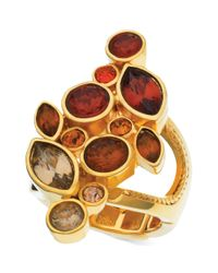 T Tahari - Metallic Goldtone Coral Cluster Stretch Ring - Lyst