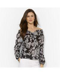 Lauren by Ralph Lauren | Black Floral Smocked Cotton Top | Lyst