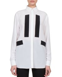 Givenchy - White Silk Contrast Blouse - Lyst