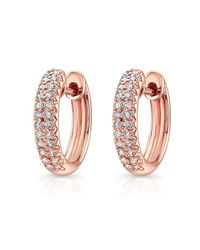 Anne Sisteron | Pink 14kt Rose Gold Diamond Huggie Earrings | Lyst