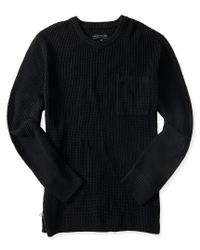 Aéropostale | Black Waffle Knit Side-zip Crew Neck Sweater | Lyst