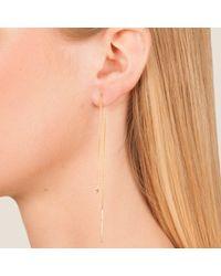 Dutch Basics - Metallic Cylinder Drop Chain Earring Rose Gold Single - Lyst