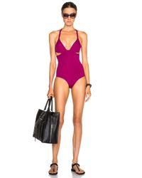 Ephemera - Purple Twist Back One Piece Swimsuit - Lyst