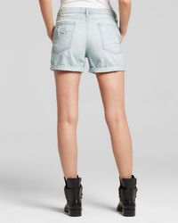 DKNY - Blue Pure Distressed Denim Shorts In Faded Indigo - Lyst