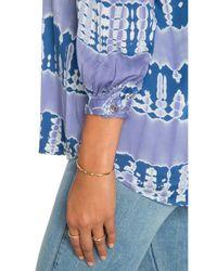 Gypsy 05 - Blue 3/4 Sleeve Henley Blouse - Lyst