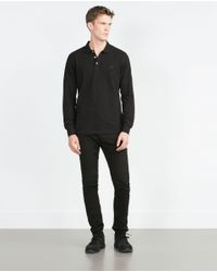 Zara | Black Piqué Polo Shirt for Men | Lyst