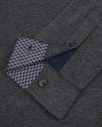 Ted Baker   Gray Long Sleeved Polo Shirt for Men   Lyst