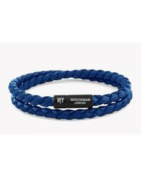 Tateossian | Chelsea Bracelet In Blue Eco-leather With Black Aluminium Clasp for Men | Lyst