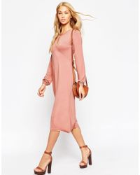 ASOS | Pink Midi Dress With Keyhole Detail | Lyst