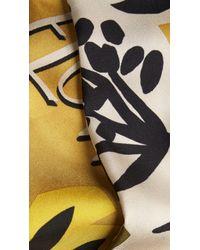 Burberry - Yellow Wild Flowers Print Silk Slim Scarf - Lyst
