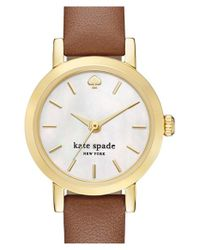 kate spade new york - Metallic 'metro' Leather Strap Watch - Lyst