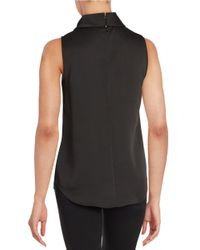Anne Klein | Black Sleeveless Cowlneck Blouse | Lyst
