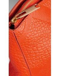 Burberry | Orange Medium Embossed Check Leather Tote Bag | Lyst