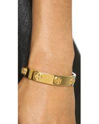 Tory Burch | Metallic Metal Logo Stud Bracelet - Shiny Gold | Lyst