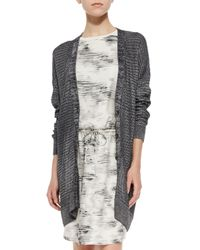 Vince - Blue Metallic Knit Button-front Cardigan - Lyst