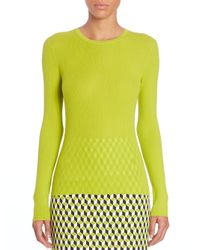 Michael Kors - Green Ribbed Cashmere Top - Lyst