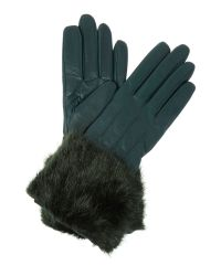 Ted Baker | Green Jania Leather Glove With Faux Fur Trim | Lyst