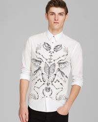 McQ - White Skeleton Graphic Button Down Shirt - Slim Fit for Men - Lyst