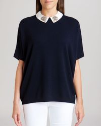 Ted Baker - Blue Sweater - Ulsey Embellished Collar Cashmere - Lyst