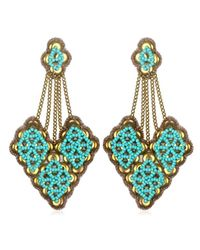 Suzanna Dai | Blue Fes Large Chandelier Earrings, Gold/turquoise | Lyst