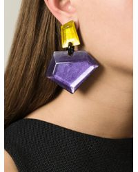 Monies | Pink Resin Stone Oversized Clip-on Earrings | Lyst