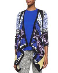 Etro - Blue Geometric Intarsia Knit Cardigan - Lyst