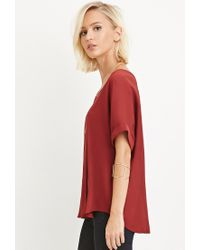 Forever 21 | Red Boxy Chiffon Top | Lyst